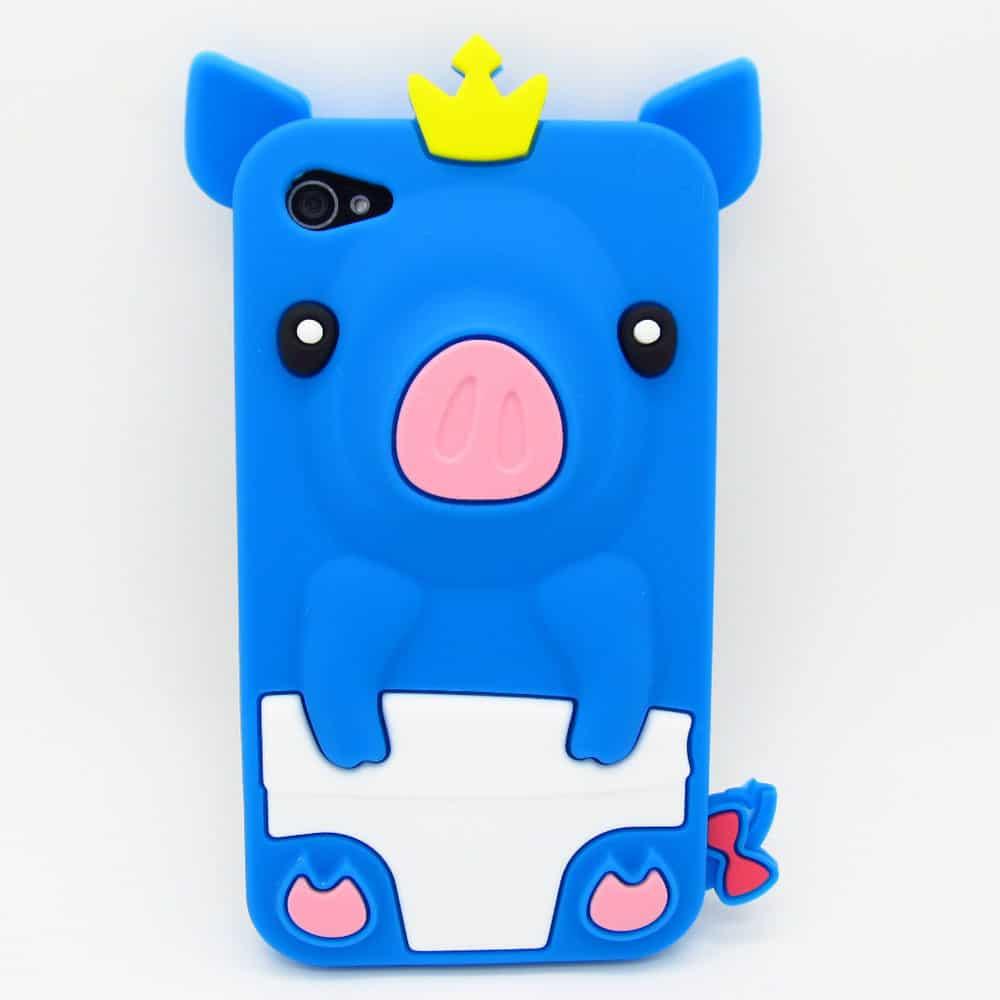 iphone 4 blue pig - Kawaii Case