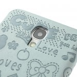 cute galaxy s4 leather flip cover case blue 2