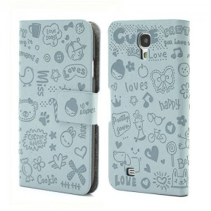 cute galaxy s4 leather flip cover case blue