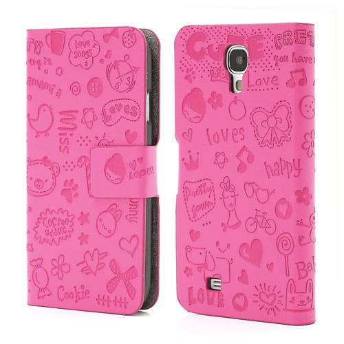 cute galaxy s4 leather flip cover case pink