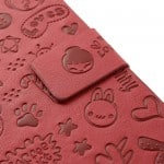 cute galaxy s4 leather flip cover case red5