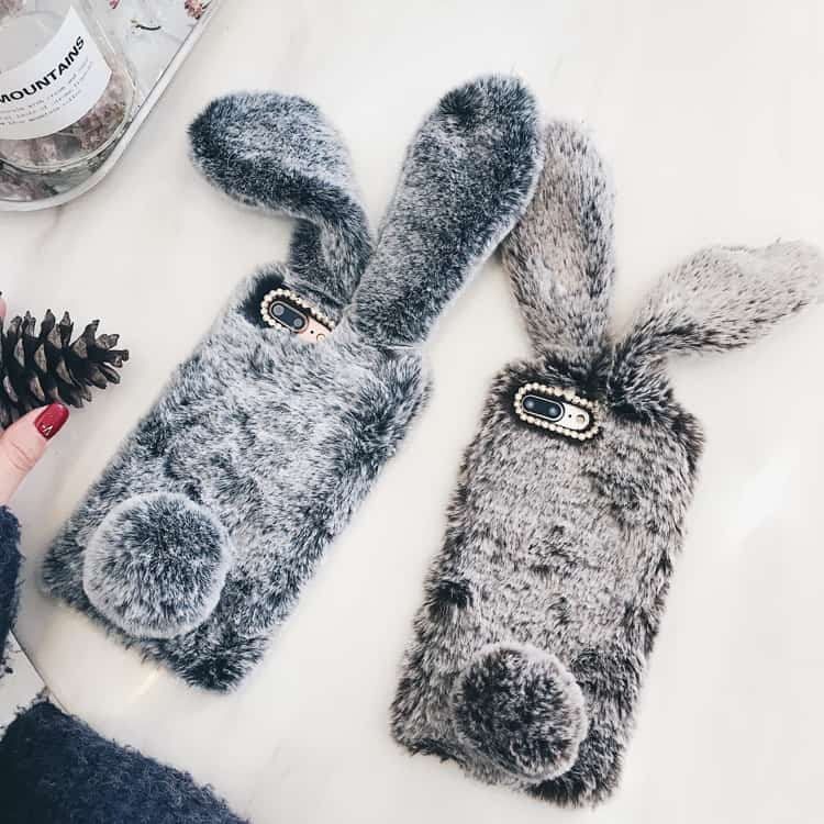 new concept 3109e 8ff7e Fuzzy Bunny Ears iPhone Case - iPhone 7 Plus - Kawaii Case