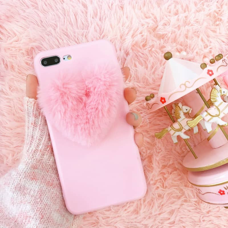 sports shoes 906ba 14c97 Fuzzy Heart iPhone Case - iPhone 7 Plus - Kawaii Case