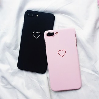 kawaii cute simple heart iphone case 5 6 7 8 X