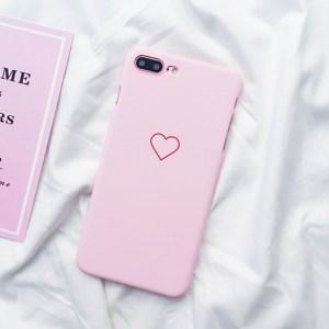kawaii cute simple heart iphone case 5 6 7 8 X pink