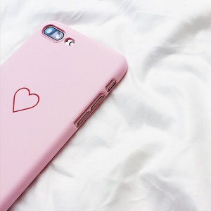 kawaii cute simple heart iphone case 5 6 7 8 X pink side